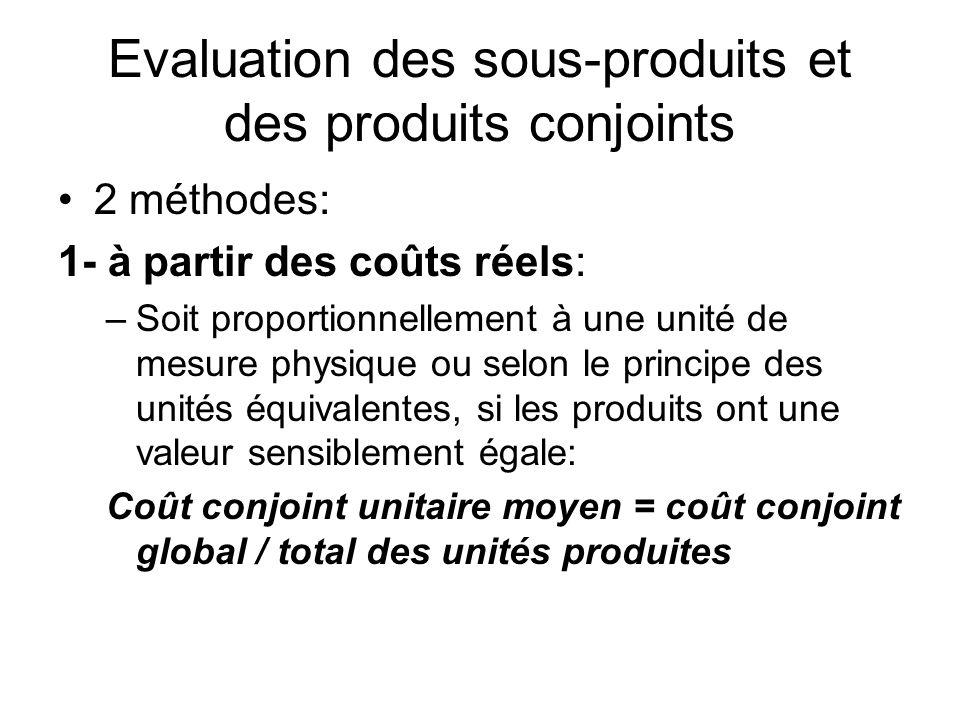Evaluation des sous-produits et des produits conjoints 2 méthodes: 1- à partir des coûts réels: –Soit proportionnellement à une unité de mesure physiq