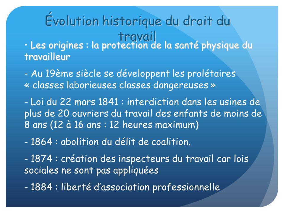 Les origines : la protection de la santé physique du travailleur - Au 19ème siècle se développent les prolétaires « classes laborieuses classes danger