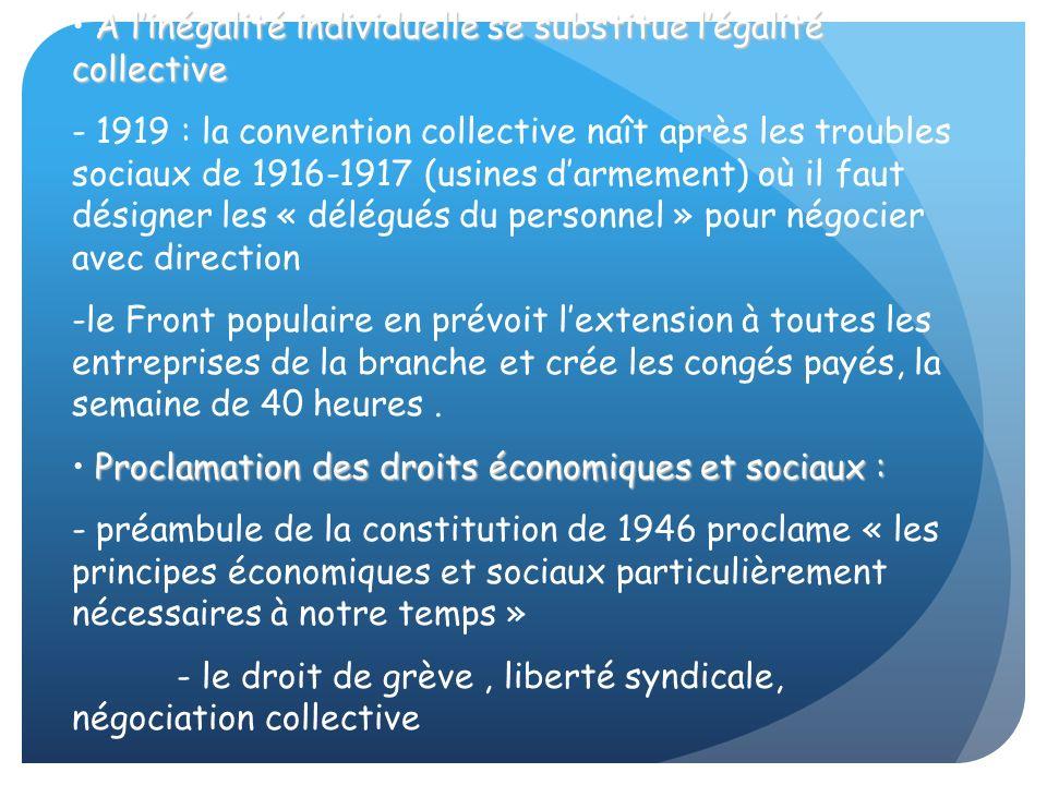 A linégalité individuelle se substitue légalité collective - 1919 : la convention collective naît après les troubles sociaux de 1916-1917 (usines darm