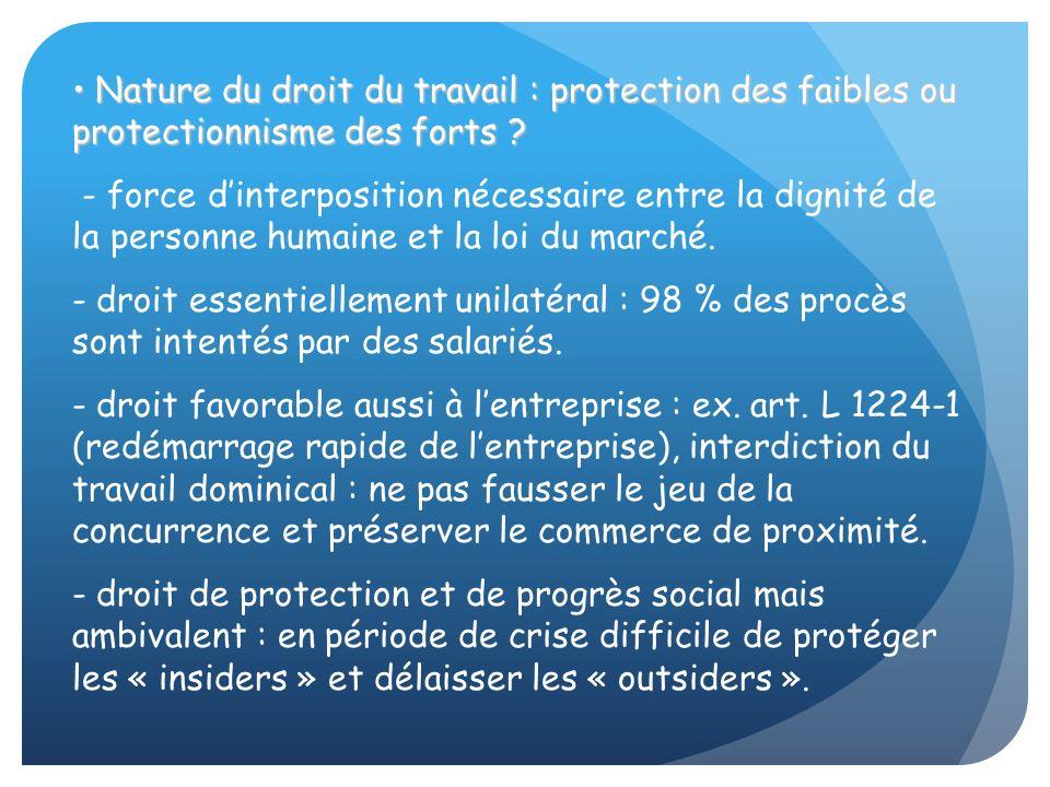 Nature du droit du travail : protection des faibles ou protectionnisme des forts ? Nature du droit du travail : protection des faibles ou protectionni