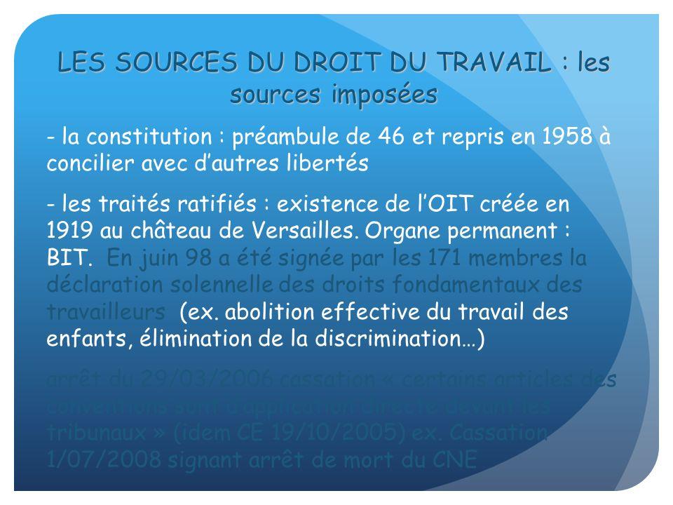 LES SOURCES DU DROIT DU TRAVAIL : les sources imposées - la constitution : préambule de 46 et repris en 1958 à concilier avec dautres libertés - les t
