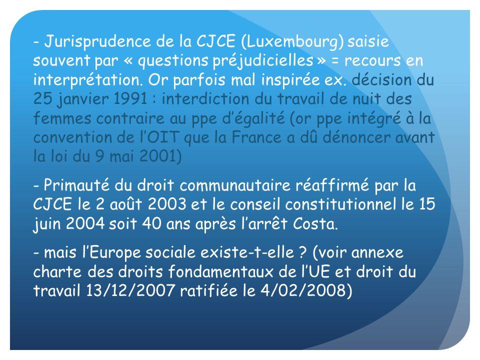 - Jurisprudence de la CJCE (Luxembourg) saisie souvent par « questions préjudicielles » = recours en interprétation. Or parfois mal inspirée ex. décis
