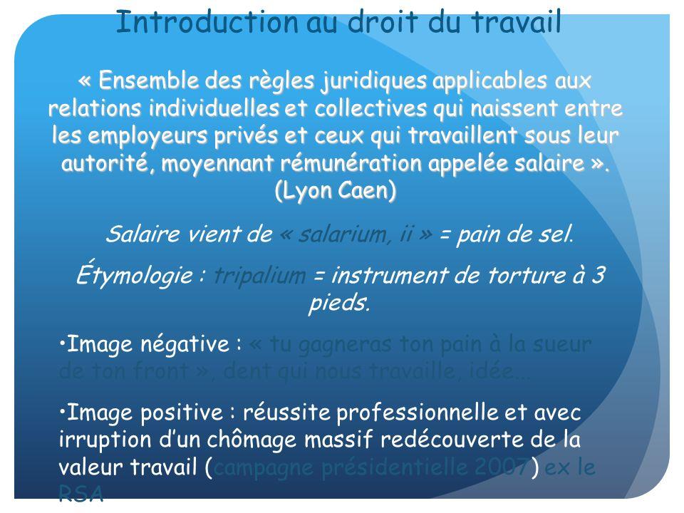 Introduction au droit du travail Salaire vient de « salarium, ii » = pain de sel. Étymologie : tripalium = instrument de torture à 3 pieds. Image néga
