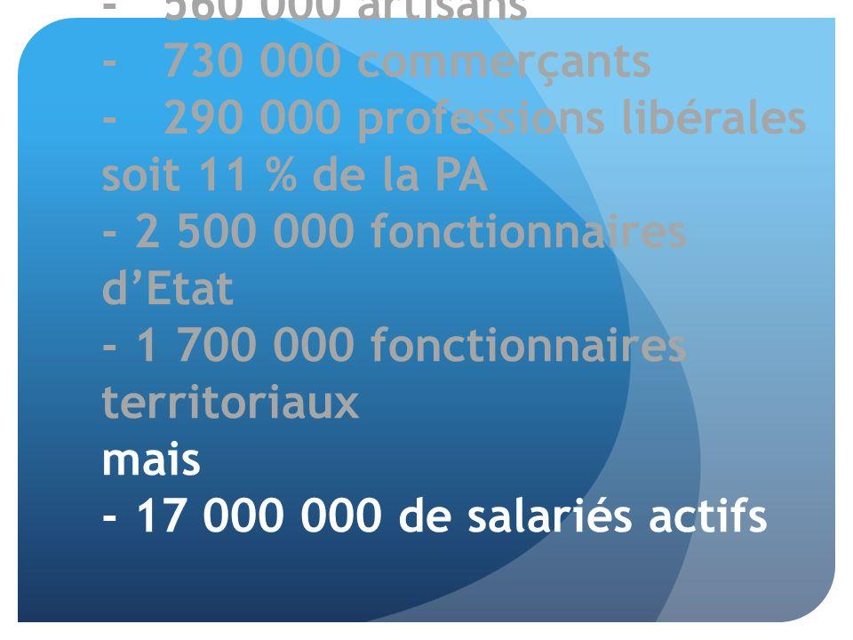 - 560 000 artisans - 730 000 commerçants - 290 000 professions libérales soit 11 % de la PA - 2 500 000 fonctionnaires dEtat - 1 700 000 fonctionnaire