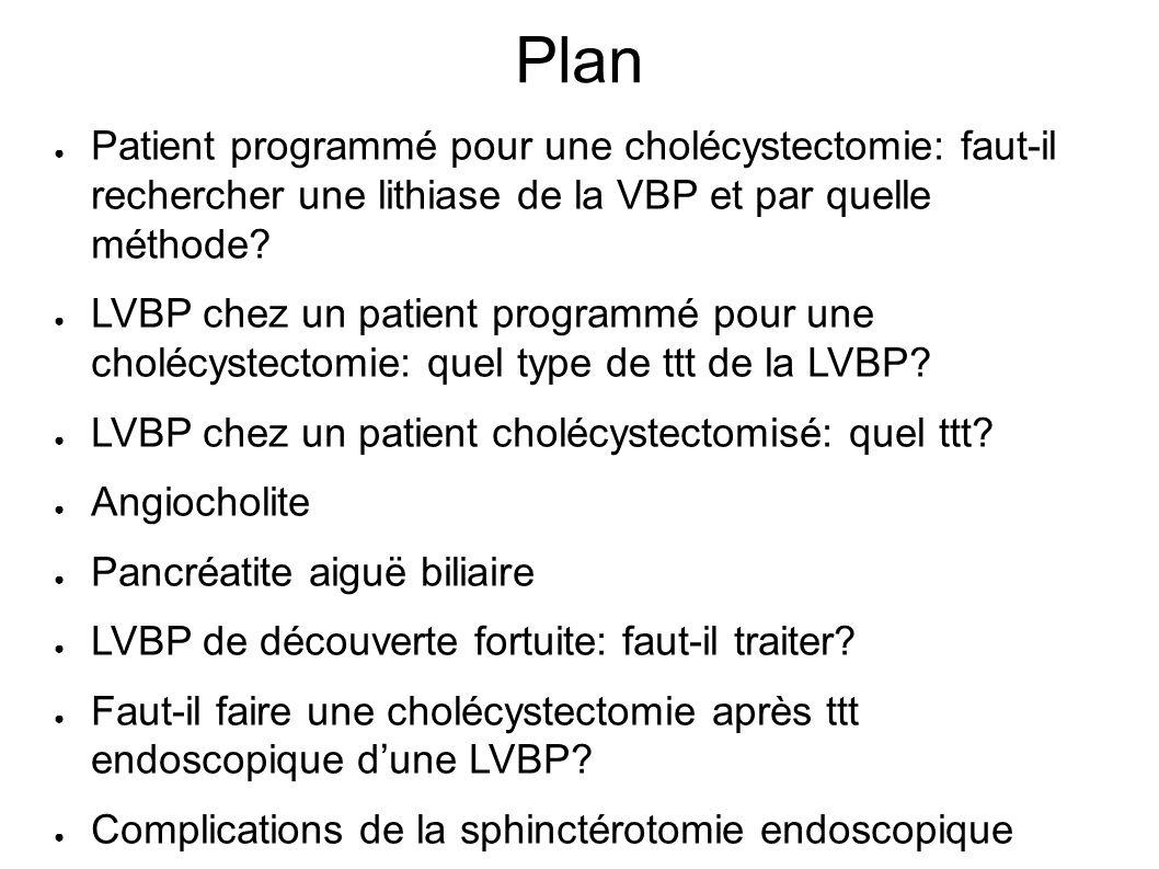 Plan Patient programmé pour une cholécystectomie: faut-il rechercher une lithiase de la VBP et par quelle méthode.