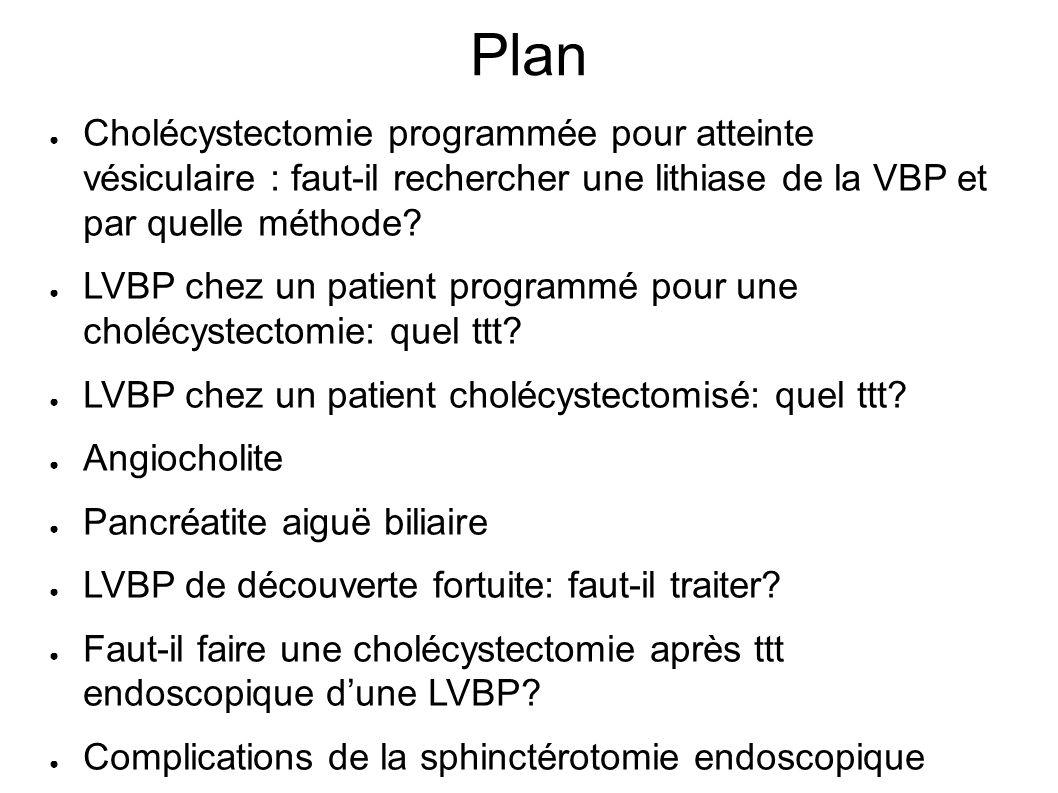 Plan Cholécystectomie programmée pour atteinte vésiculaire : faut-il rechercher une lithiase de la VBP et par quelle méthode.