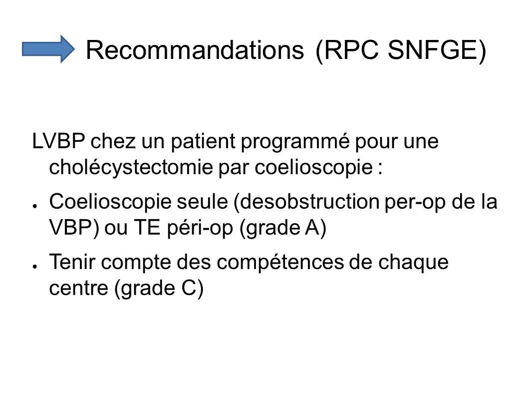 Recommandations (RPC SNFGE) LVBP chez un patient programmé pour une cholécystectomie par coelioscopie : Coelioscopie seule (desobstruction per-op de la VBP) ou TE péri-op (grade A) Tenir compte des compétences de chaque centre (grade C)