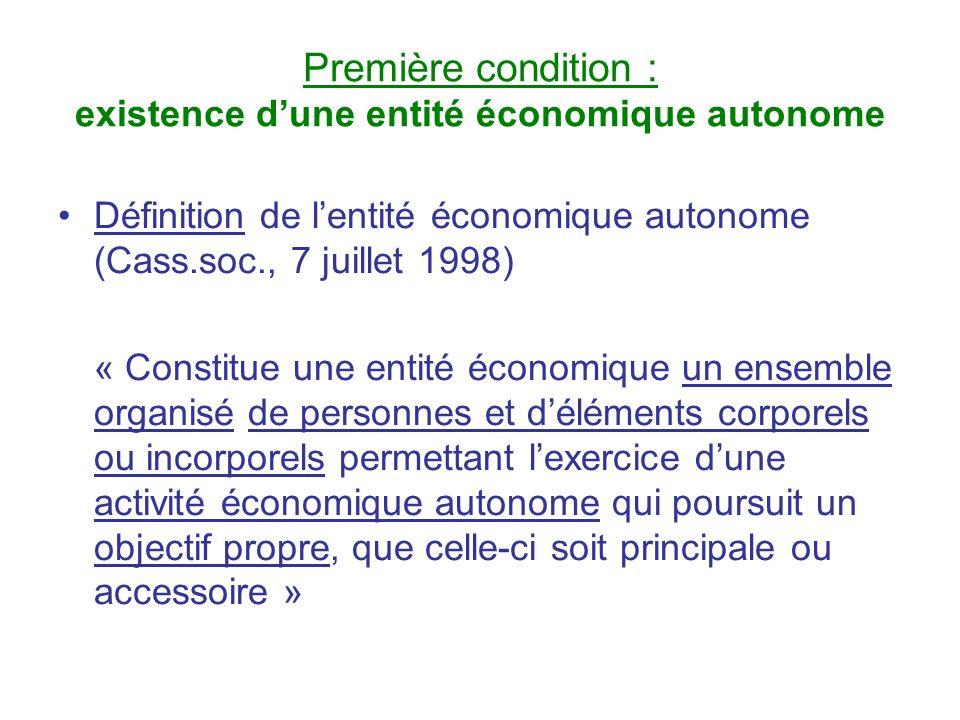 Première condition : existence dune entité économique autonome Définition de lentité économique autonome (Cass.soc., 7 juillet 1998) « Constitue une e