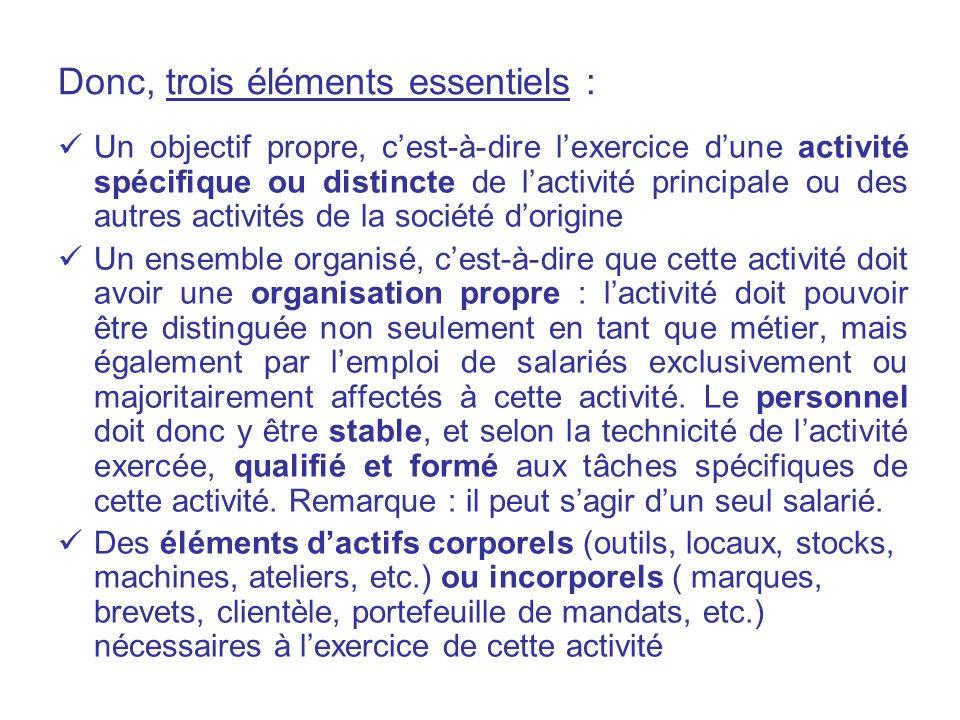 Donc, trois éléments essentiels : Un objectif propre, cest-à-dire lexercice dune activité spécifique ou distincte de lactivité principale ou des autre