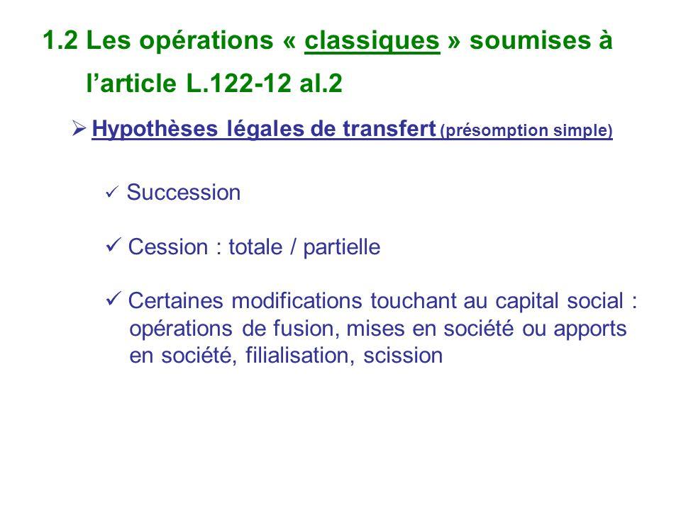 1.2 Les opérations « classiques » soumises à larticle L.122-12 al.2 Hypothèses légales de transfert (présomption simple) Succession Cession : totale /