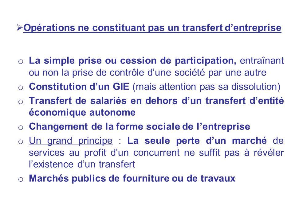 Opérations ne constituant pas un transfert dentreprise o La simple prise ou cession de participation, entraînant ou non la prise de contrôle dune soci