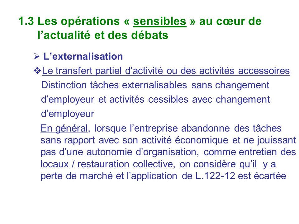 1.3 Les opérations « sensibles » au cœur de lactualité et des débats Lexternalisation Le transfert partiel dactivité ou des activités accessoires Dist