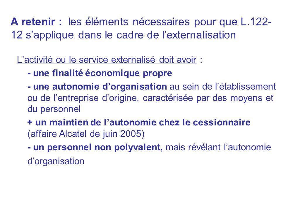 A retenir : les éléments nécessaires pour que L.122- 12 sapplique dans le cadre de lexternalisation Lactivité ou le service externalisé doit avoir : -