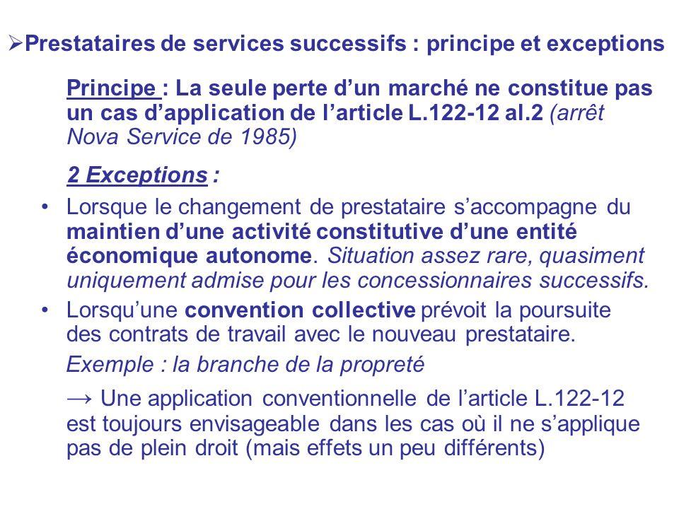 Prestataires de services successifs : principe et exceptions Principe : La seule perte dun marché ne constitue pas un cas dapplication de larticle L.1