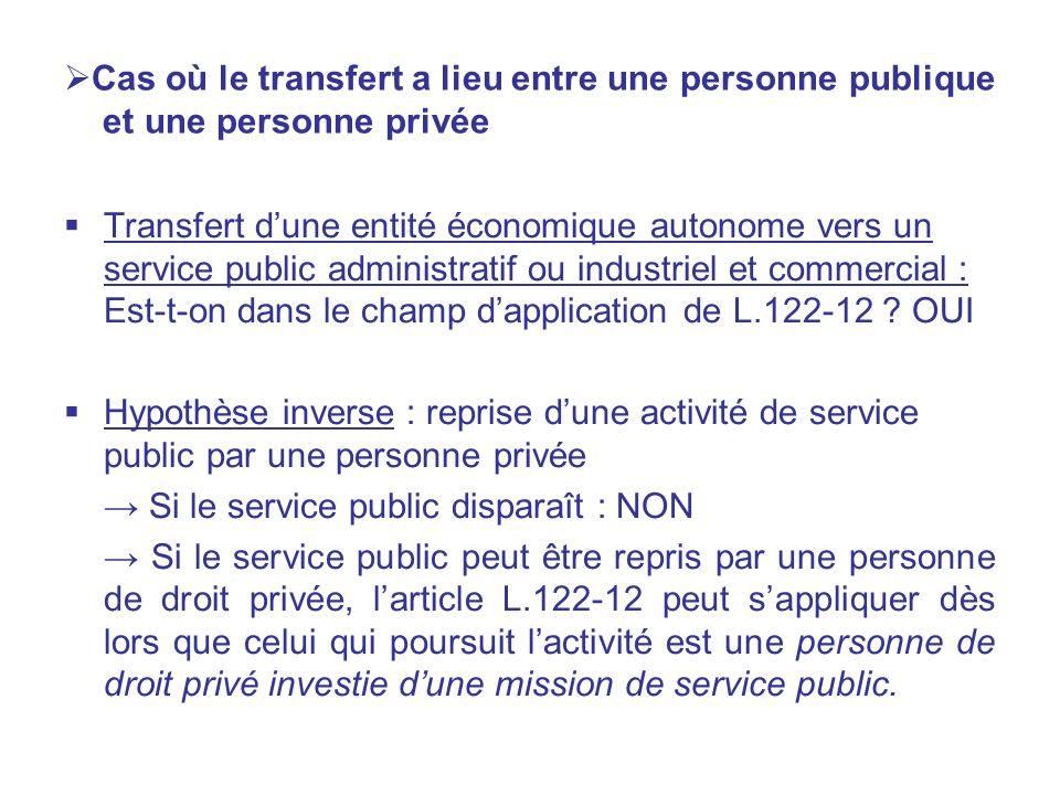 Cas où le transfert a lieu entre une personne publique et une personne privée Transfert dune entité économique autonome vers un service public adminis