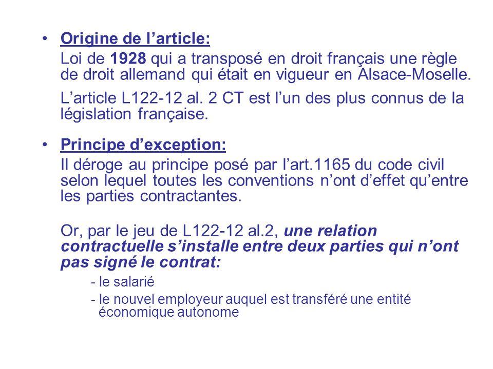 Origine de larticle: Loi de 1928 qui a transposé en droit français une règle de droit allemand qui était en vigueur en Alsace-Moselle. Larticle L122-1