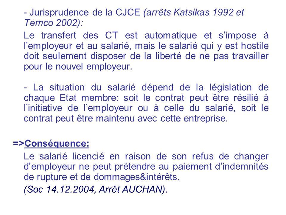 - Jurisprudence de la CJCE (arrêts Katsikas 1992 et Temco 2002): Le transfert des CT est automatique et simpose à lemployeur et au salarié, mais le sa
