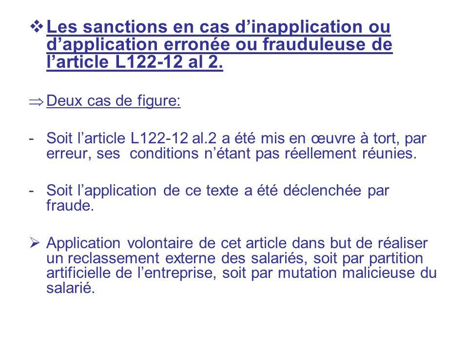 Les sanctions en cas dinapplication ou dapplication erronée ou frauduleuse de larticle L122-12 al 2. Deux cas de figure: -Soit larticle L122-12 al.2 a