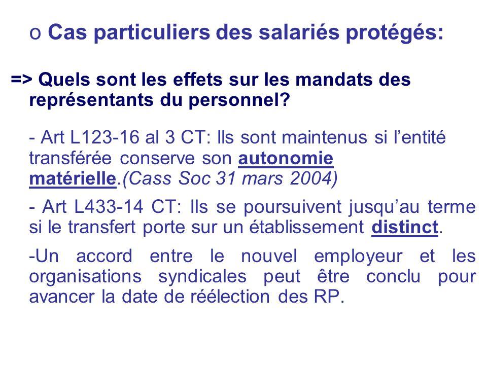 o Cas particuliers des salariés protégés: => Quels sont les effets sur les mandats des représentants du personnel? - Art L123-16 al 3 CT: Ils sont mai