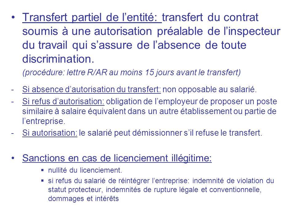 Transfert partiel de lentité: transfert du contrat soumis à une autorisation préalable de linspecteur du travail qui sassure de labsence de toute disc