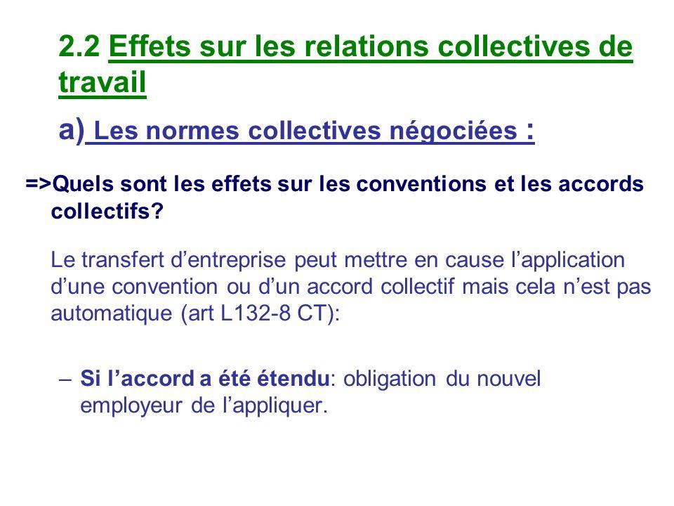 2.2 Effets sur les relations collectives de travail a) Les normes collectives négociées : =>Quels sont les effets sur les conventions et les accords c