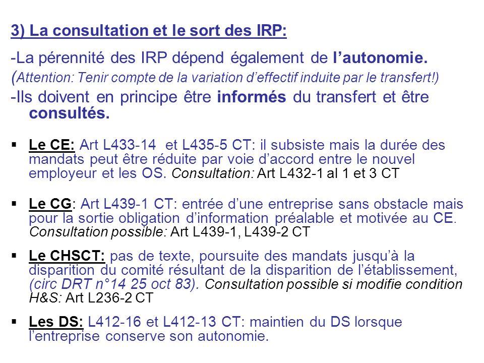 3) La consultation et le sort des IRP: -La pérennité des IRP dépend également de lautonomie. ( Attention: Tenir compte de la variation deffectif indui