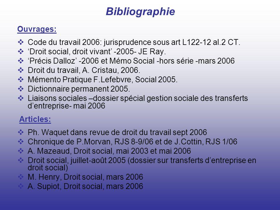 Bibliographie Ouvrages: Code du travail 2006: jurisprudence sous art L122-12 al.2 CT. Droit social, droit vivant -2005- JE Ray. Précis Dalloz -2006 et