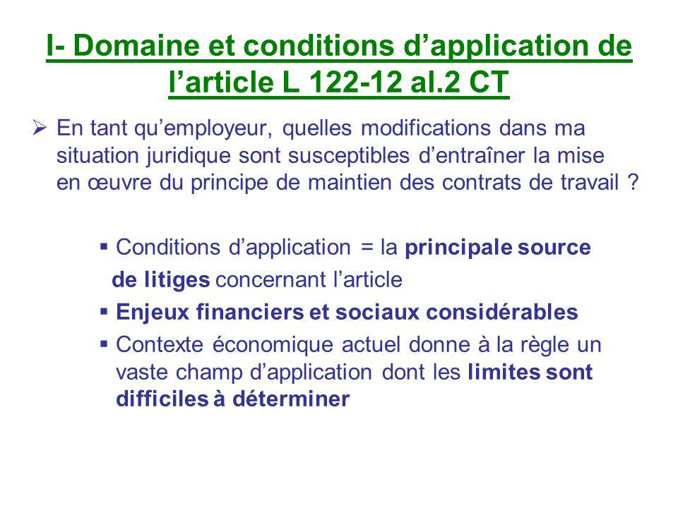 I- Domaine et conditions dapplication de larticle L 122-12 al.2 CT En tant quemployeur, quelles modifications dans ma situation juridique sont suscept