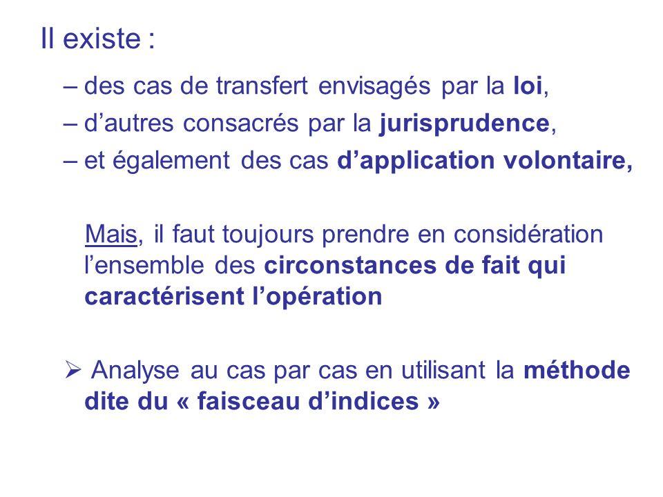 Il existe : –des cas de transfert envisagés par la loi, –dautres consacrés par la jurisprudence, –et également des cas dapplication volontaire, Mais,