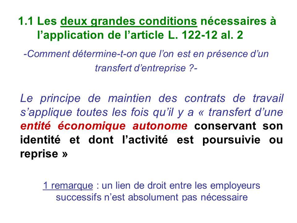 1.1 Les deux grandes conditions nécessaires à lapplication de larticle L. 122-12 al. 2 -Comment détermine-t-on que lon est en présence dun transfert d