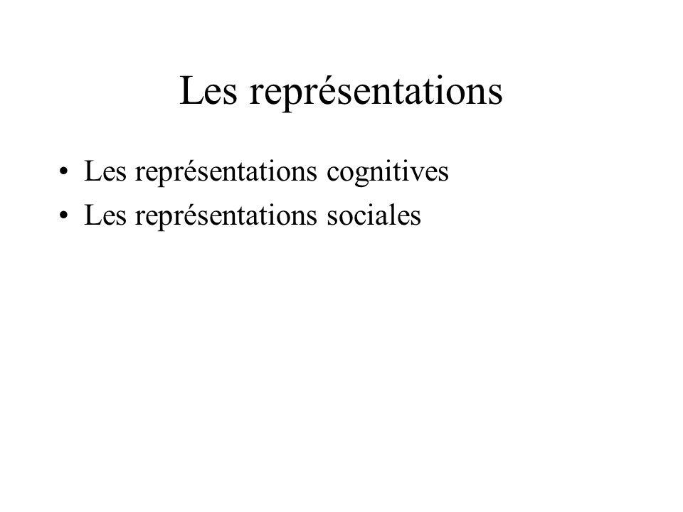 Les représentations Les représentations cognitives Les représentations sociales