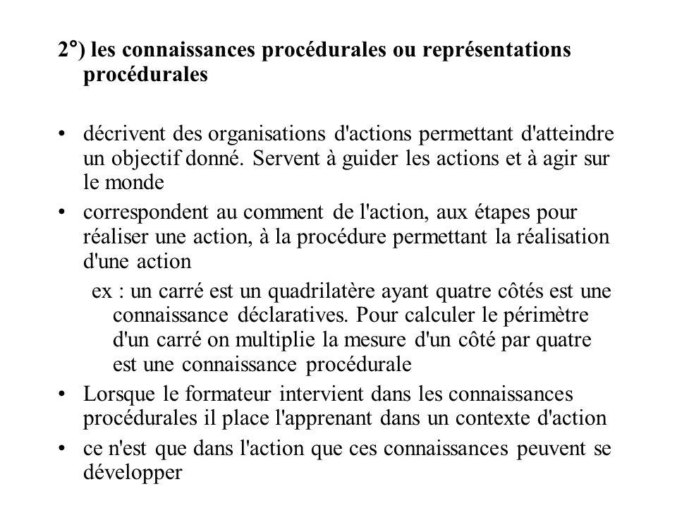 2°) les connaissances procédurales ou représentations procédurales décrivent des organisations d'actions permettant d'atteindre un objectif donné. Ser