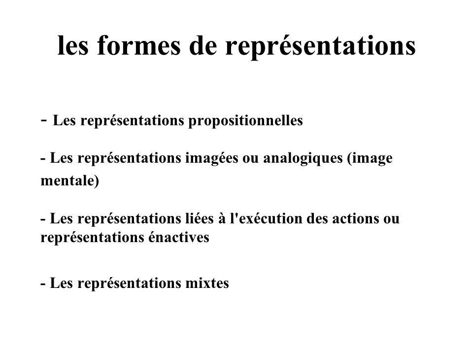 les formes de représentations - Les représentations propositionnelles - Les représentations imagées ou analogiques (image mentale) - Les représentatio