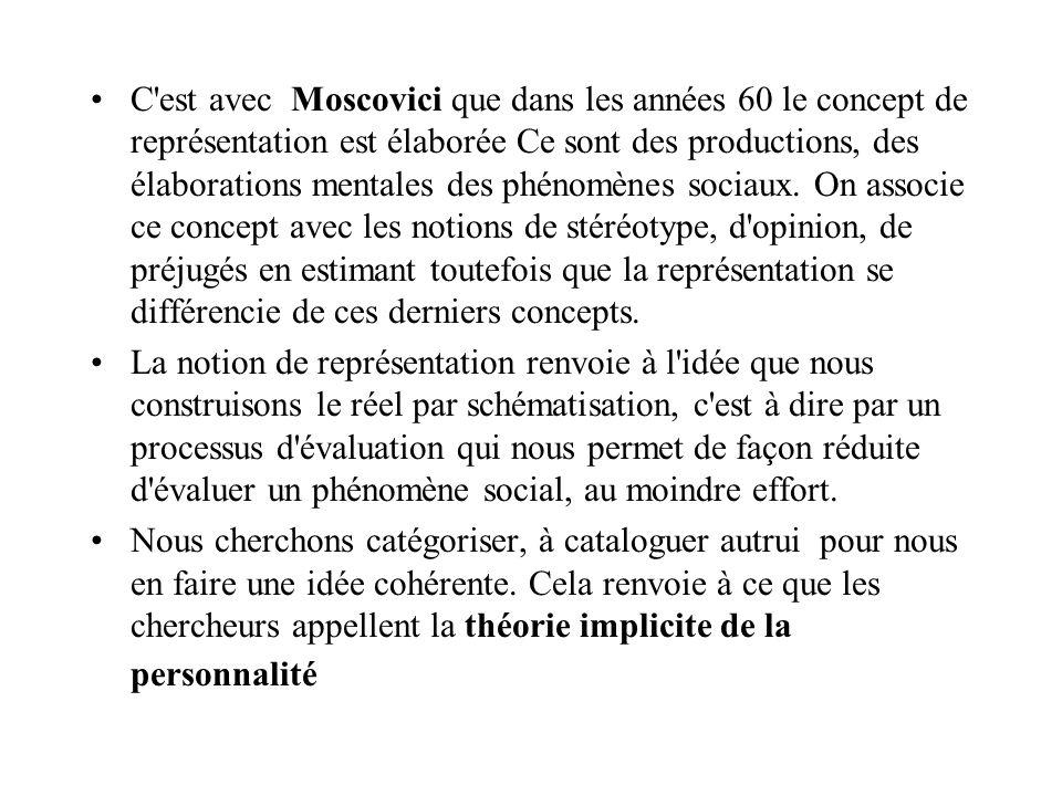 C'est avec Moscovici que dans les années 60 le concept de représentation est élaborée Ce sont des productions, des élaborations mentales des phénomène