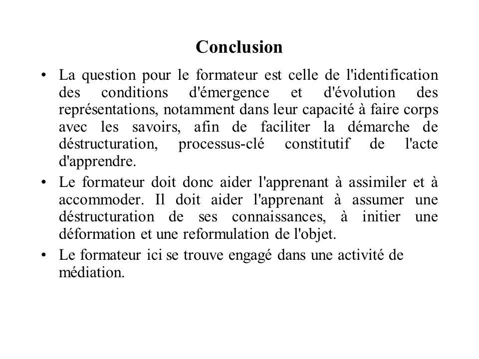 Conclusion La question pour le formateur est celle de l'identification des conditions d'émergence et d'évolution des représentations, notamment dans l