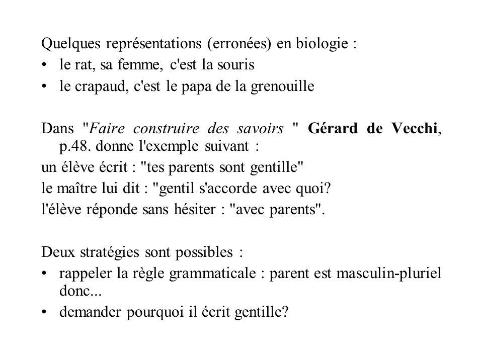 Quelques représentations (erronées) en biologie : le rat, sa femme, c'est la souris le crapaud, c'est le papa de la grenouille Dans