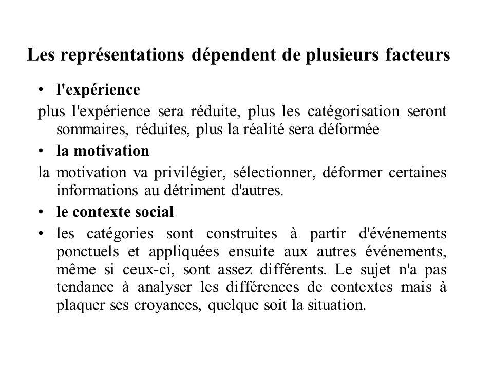 Les représentations dépendent de plusieurs facteurs l'expérience plus l'expérience sera réduite, plus les catégorisation seront sommaires, réduites, p