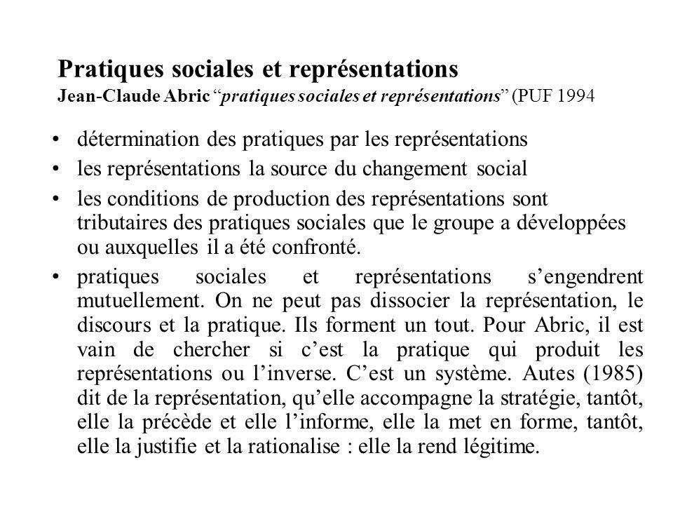 Pratiques sociales et représentations Jean-Claude Abric pratiques sociales et représentations (PUF 1994 détermination des pratiques par les représenta