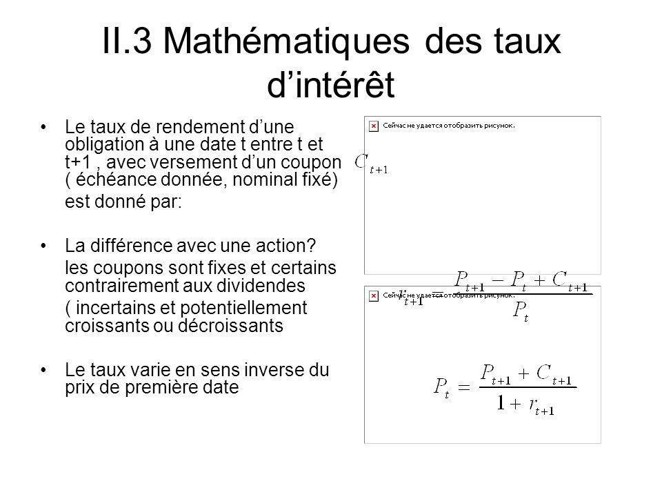 II.3 Mathématiques des taux dintérêt Le taux de rendement dune obligation à une date t entre t et t+1, avec versement dun coupon ( échéance donnée, no