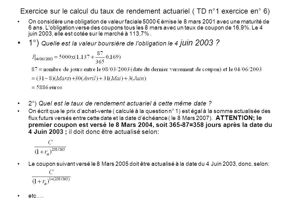 Exercice sur le calcul du taux de rendement actuariel ( TD n°1 exercice en° 6) On considère une obligation de valeur faciale 5000 émise le 8 mars 2001