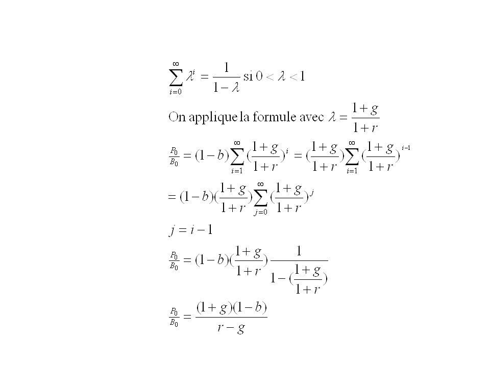 Remarque: la formule précédente, si on fait abstraction de lanticipation, et une formule comptable r est le taux de rendement de laction en effet, le taux rendement r entre les dates dachat (0) et de revente (1) est défini par: r=R-1 où R est le rendement de linvestissement représenté par lachat dune actionce qui est équivalent à: En écrivant cette relation pour tous les couples de dates successives ((0,1), (1,2), (2,3) etc…) on obtient la relation: