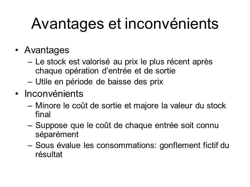 Avantages et inconvénients Avantages –Le stock est valorisé au prix le plus récent après chaque opération dentrée et de sortie –Utile en période de ba