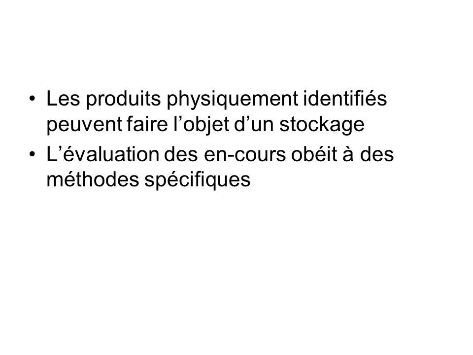 Les produits physiquement identifiés peuvent faire lobjet dun stockage Lévaluation des en-cours obéit à des méthodes spécifiques