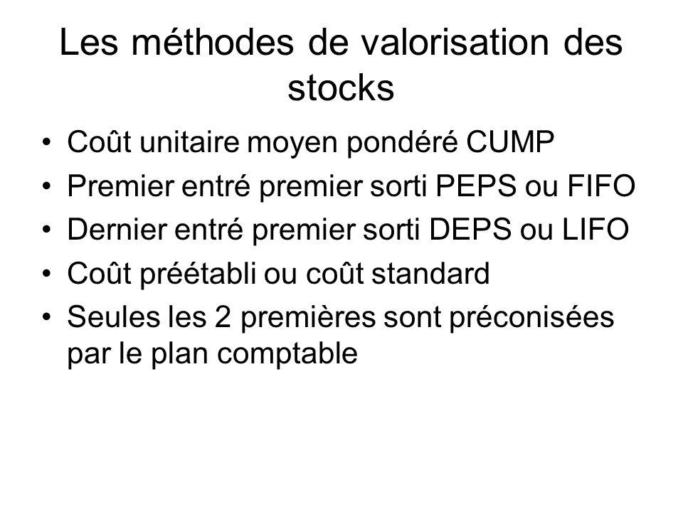 Les méthodes de valorisation des stocks Coût unitaire moyen pondéré CUMP Premier entré premier sorti PEPS ou FIFO Dernier entré premier sorti DEPS ou