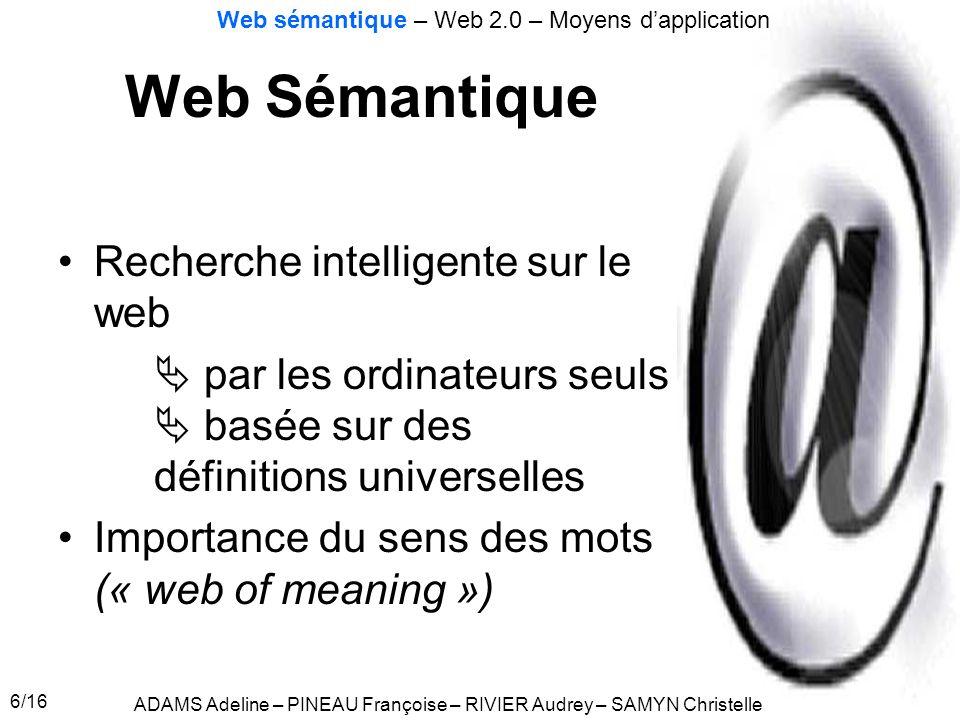 6/16 Web Sémantique Recherche intelligente sur le web par les ordinateurs seuls basée sur des définitions universelles Importance du sens des mots («
