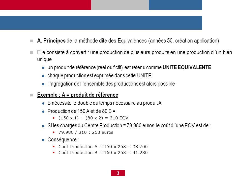 3 A. Principes de la méthode dite des Equivalences (années 50, création application) Elle consiste à convertir une production de plusieurs produits en