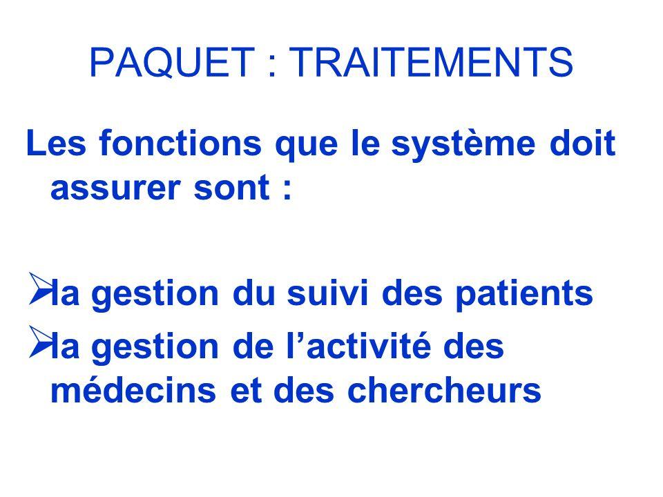PAQUET : TRAITEMENTS Les fonctions que le système doit assurer sont : la gestion du suivi des patients la gestion de lactivité des médecins et des che