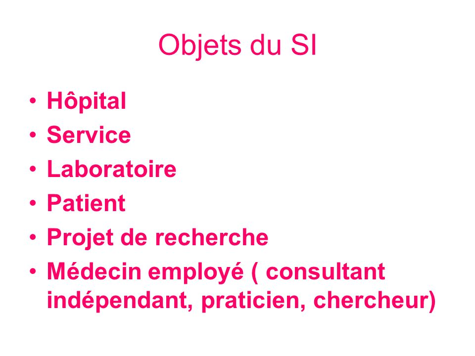 Objets du SI Hôpital Service Laboratoire Patient Projet de recherche Médecin employé ( consultant indépendant, praticien, chercheur)