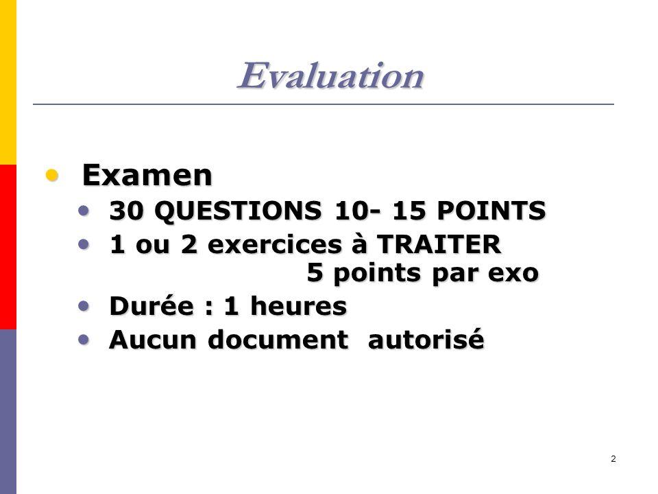 2 Evaluation Examen Examen 30 QUESTIONS 10- 15 POINTS 30 QUESTIONS 10- 15 POINTS 1 ou 2 exercices à TRAITER 5 points par exo 1 ou 2 exercices à TRAITER 5 points par exo Durée : 1 heures Durée : 1 heures Aucun document autorisé Aucun document autorisé