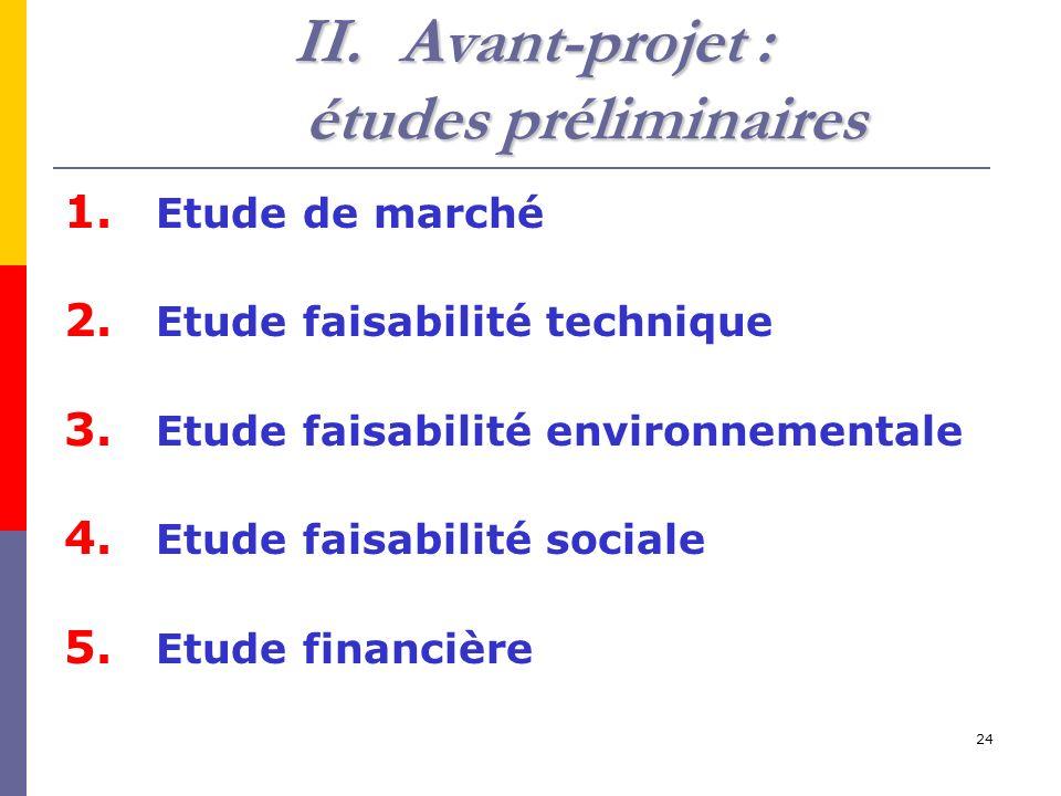 24 II.Avant-projet : études préliminaires 1.Etude de marché 2.